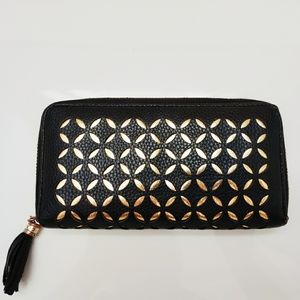 Faux Leather Geometric Black and Gold Clutch